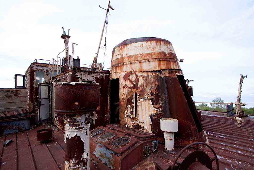 Chernobyl Shipwreck with soviet symbol of sickle and hammer