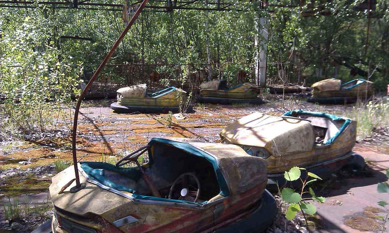 Electric carts, abandoned amusement park